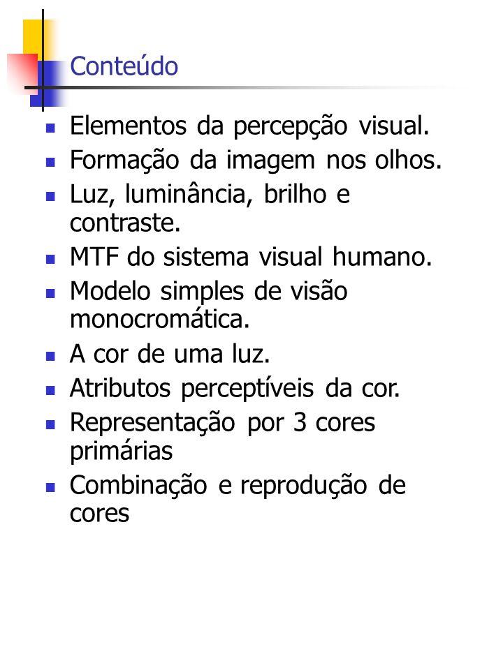 Conteúdo Elementos da percepção visual. Formação da imagem nos olhos. Luz, luminância, brilho e contraste.