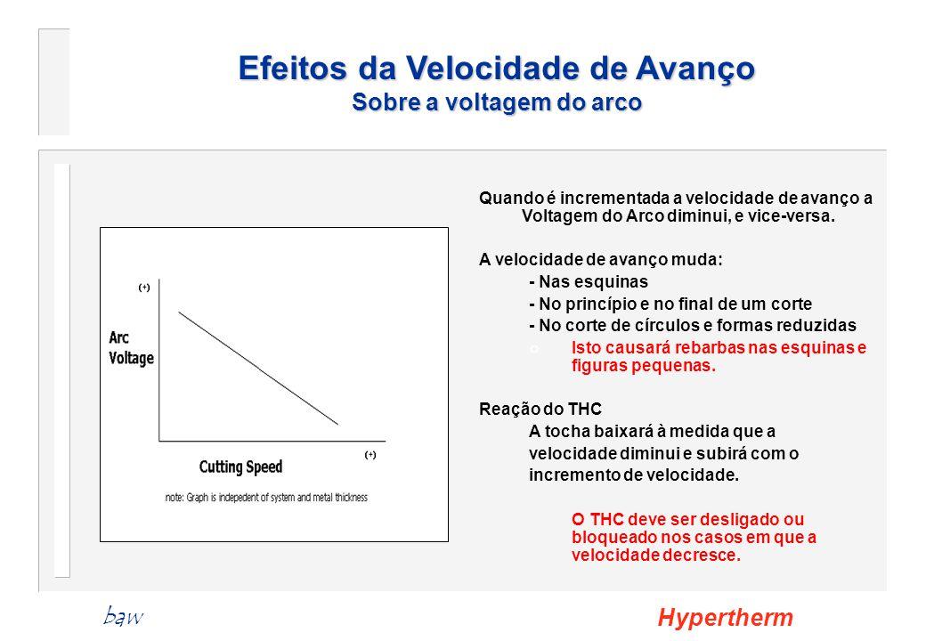 Efeitos da Velocidade de Avanço Sobre a voltagem do arco