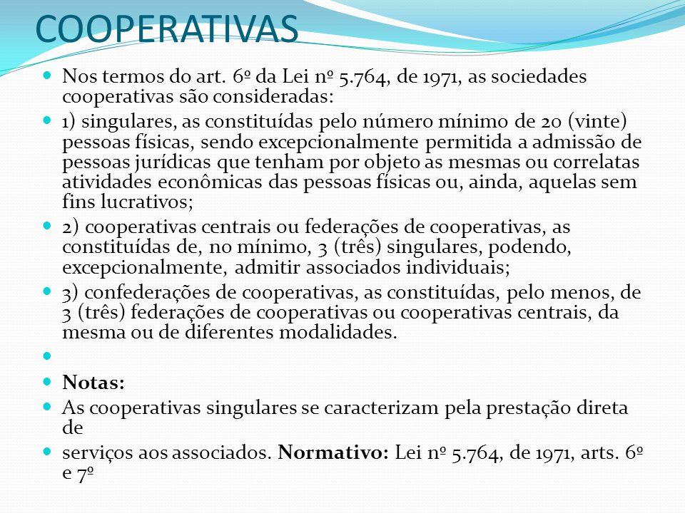 CLASSIFICAÇÃO DAS COOPERATIVAS