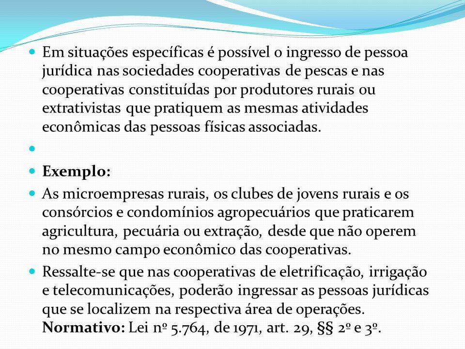 Em situações específicas é possível o ingresso de pessoa jurídica nas sociedades cooperativas de pescas e nas cooperativas constituídas por produtores rurais ou extrativistas que pratiquem as mesmas atividades econômicas das pessoas físicas associadas.