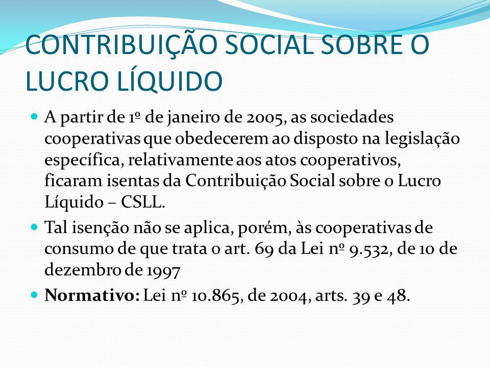 CONTRIBUIÇÃO SOCIAL SOBRE O LUCRO LÍQUIDO