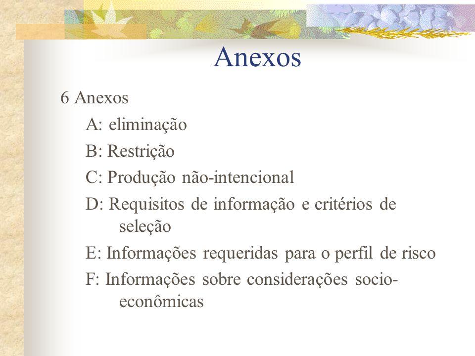 Anexos 6 Anexos A: eliminação B: Restrição C: Produção não-intencional