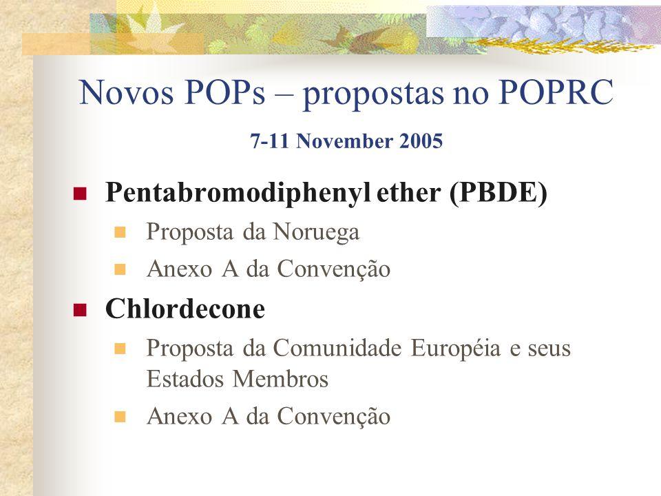 Novos POPs – propostas no POPRC 7-11 November 2005