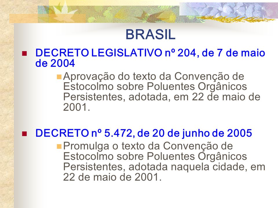 BRASIL DECRETO LEGISLATIVO nº 204, de 7 de maio de 2004