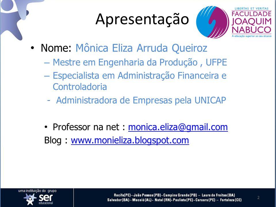 Apresentação Nome: Mônica Eliza Arruda Queiroz