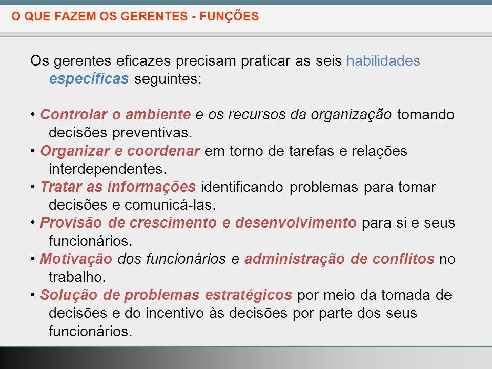 • Motivação dos funcionários e administração de conflitos no trabalho.
