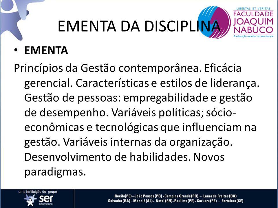 EMENTA DA DISCIPLINA EMENTA
