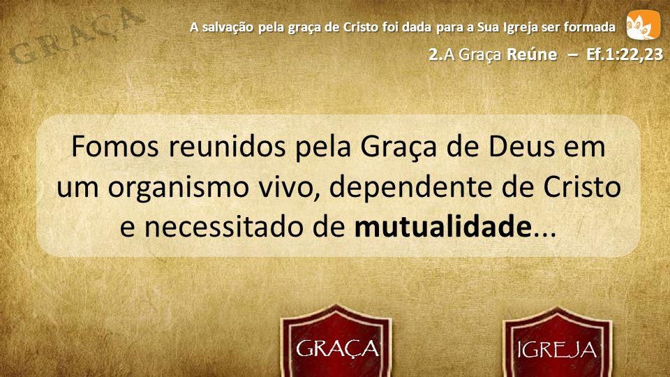 GRAÇA A salvação pela graça de Cristo foi dada para a Sua Igreja ser formada. 2. A Graça Reúne – Ef.1:22,23.