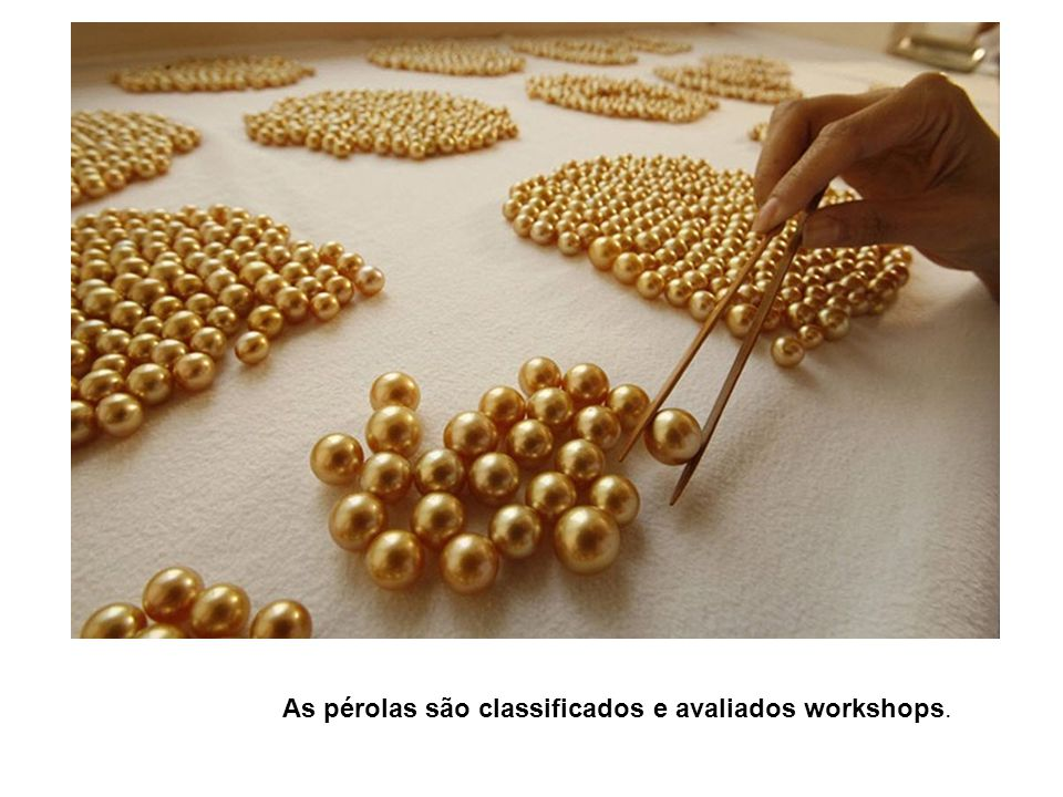 As pérolas são classificados e avaliados workshops.