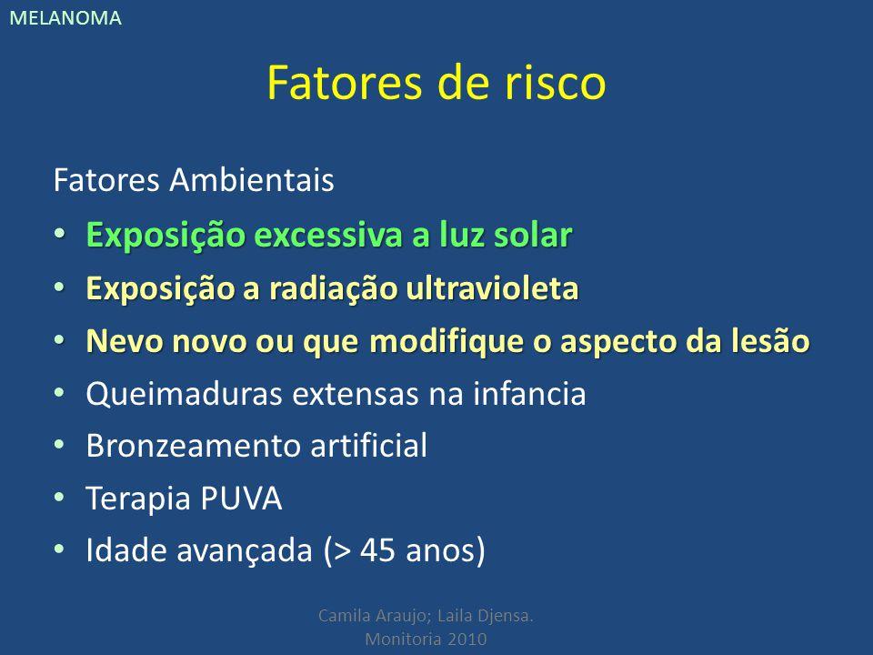 Fatores de risco Exposição excessiva a luz solar Fatores Ambientais