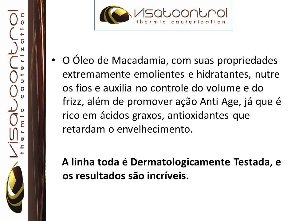 O Óleo de Macadamia, com suas propriedades extremamente emolientes e hidratantes, nutre os fios e auxilia no controle do volume e do frizz, além de promover ação Anti Age, já que é rico em ácidos graxos, antioxidantes que retardam o envelhecimento.