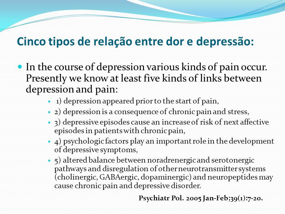 Cinco tipos de relação entre dor e depressão: