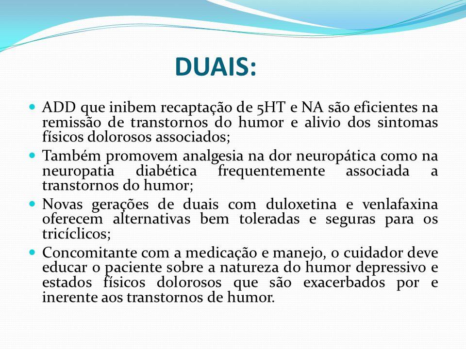 DUAIS: ADD que inibem recaptação de 5HT e NA são eficientes na remissão de transtornos do humor e alivio dos sintomas físicos dolorosos associados;