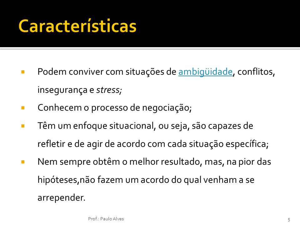 Características Podem conviver com situações de ambigüidade, conflitos, insegurança e stress; Conhecem o processo de negociação;
