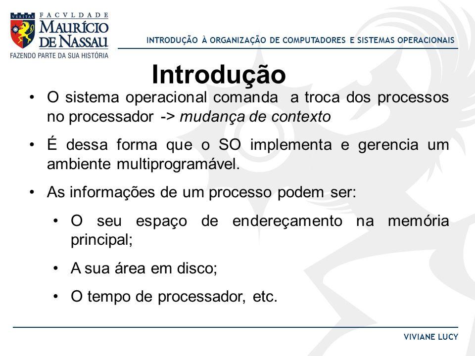 Introdução O sistema operacional comanda a troca dos processos no processador -> mudança de contexto.