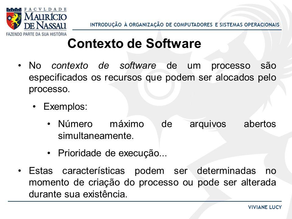 Contexto de Software No contexto de software de um processo são especificados os recursos que podem ser alocados pelo processo.