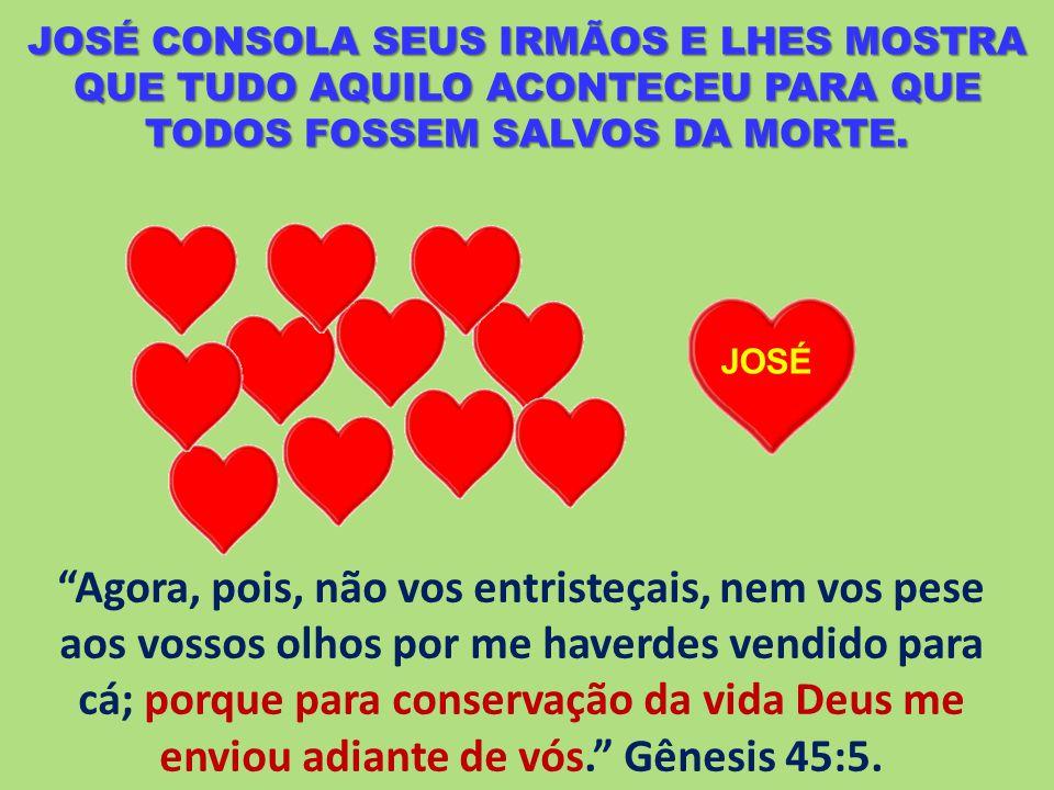 JOSÉ CONSOLA SEUS IRMÃOS E LHES MOSTRA QUE TUDO AQUILO ACONTECEU PARA QUE TODOS FOSSEM SALVOS DA MORTE.