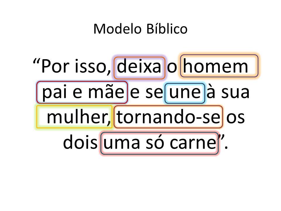 Modelo Bíblico Por isso, deixa o homem pai e mãe e se une à sua mulher, tornando-se os dois uma só carne .