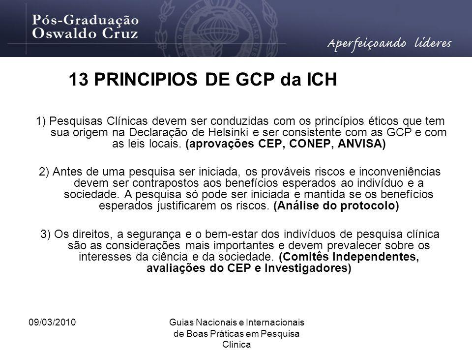 13 PRINCIPIOS DE GCP da ICH