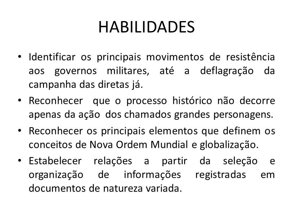 HABILIDADES Identificar os principais movimentos de resistência aos governos militares, até a deflagração da campanha das diretas já.