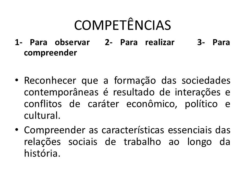 COMPETÊNCIAS 1- Para observar 2- Para realizar 3- Para compreender.