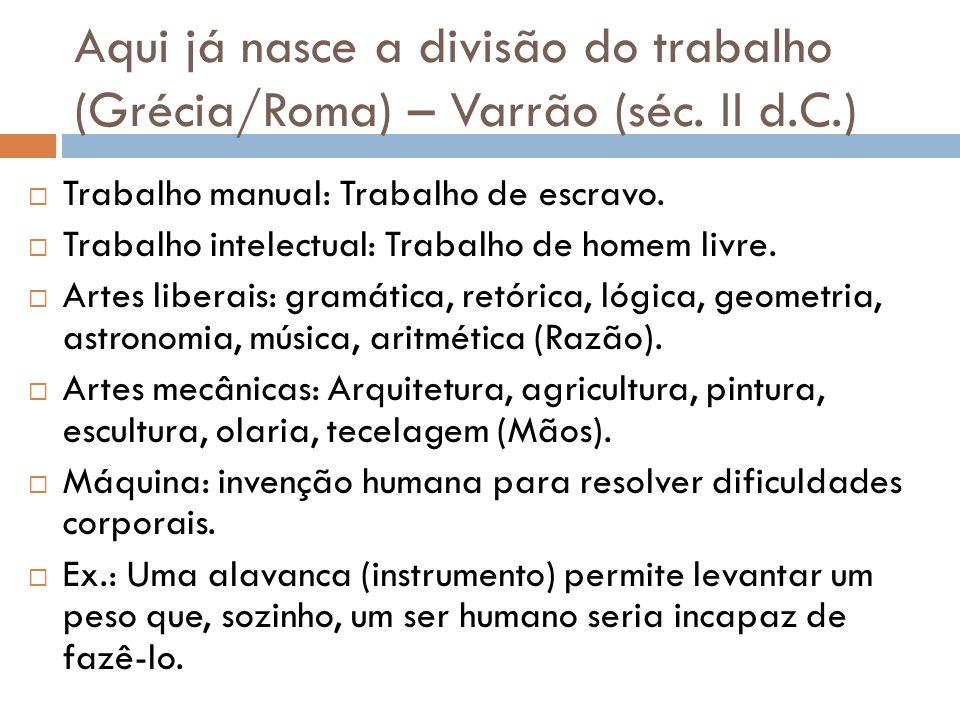 Aqui já nasce a divisão do trabalho (Grécia/Roma) – Varrão (séc. II d