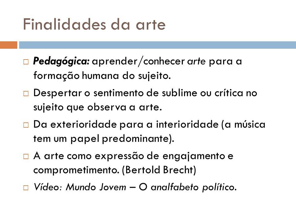 Finalidades da arte Pedagógica: aprender/conhecer arte para a formação humana do sujeito.