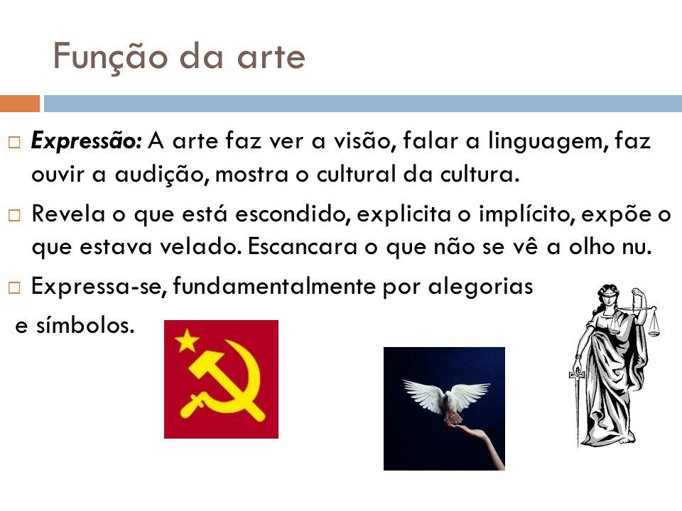 Função da arte Expressão: A arte faz ver a visão, falar a linguagem, faz ouvir a audição, mostra o cultural da cultura.