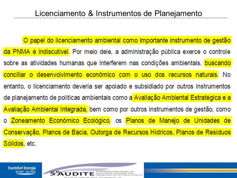 Licenciamento & Instrumentos de Planejamento
