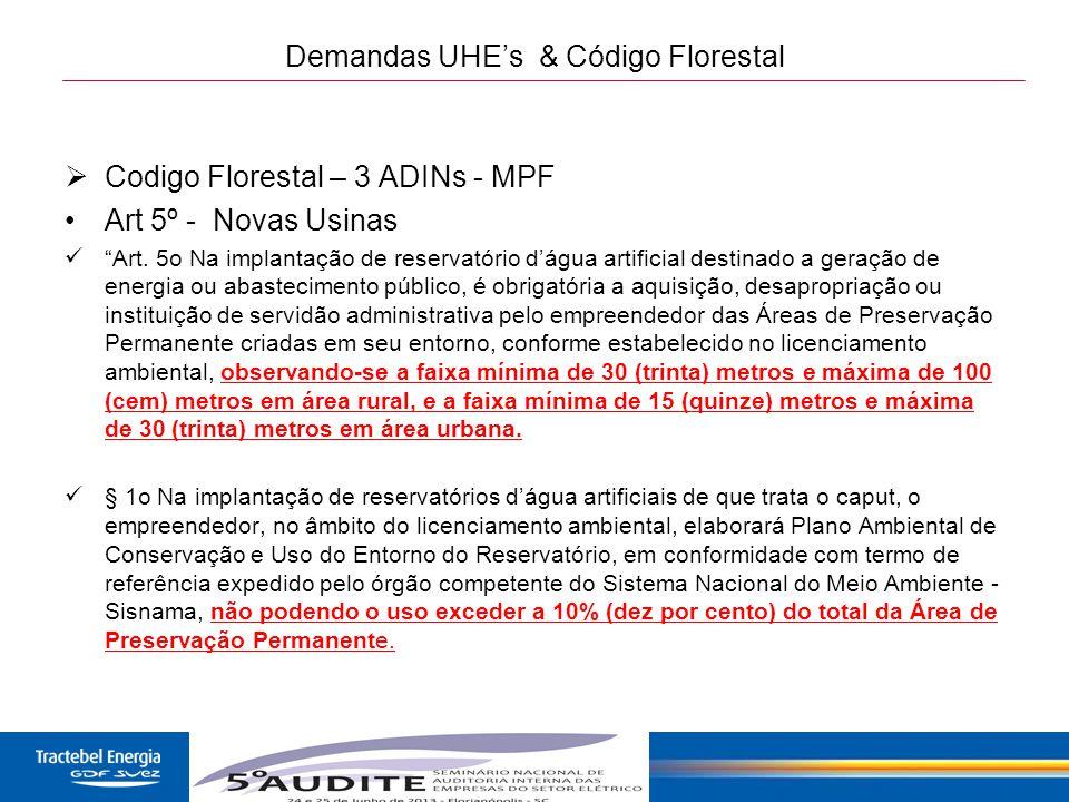 Demandas UHE's & Código Florestal