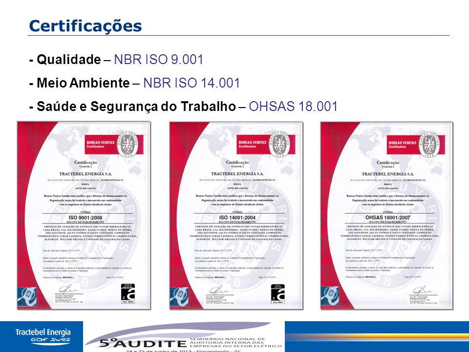 Certificações - Qualidade – NBR ISO 9.001