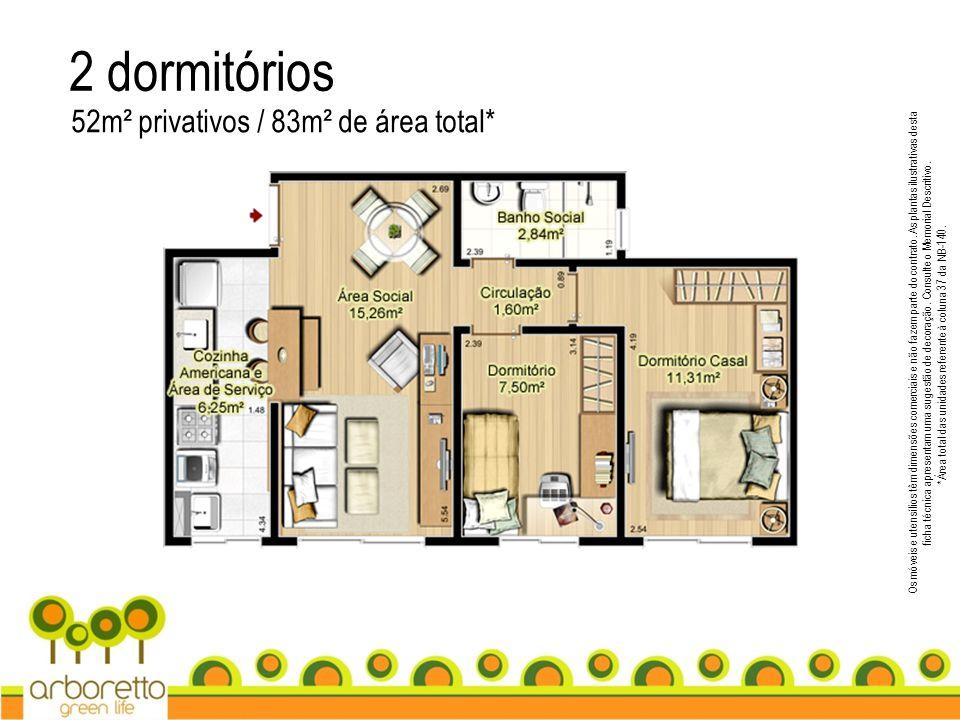 2 dormitórios 52m² privativos / 83m² de área total*