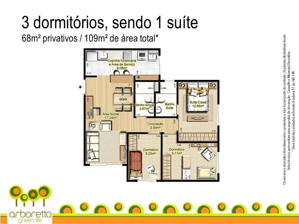 3 dormitórios, sendo 1 suíte