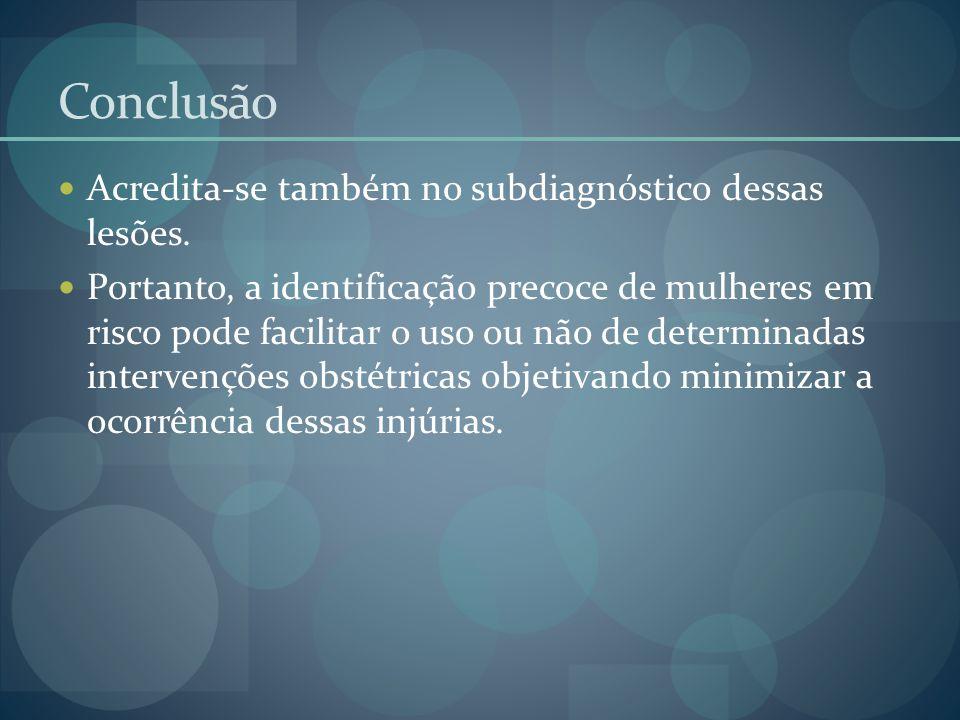 Conclusão Acredita-se também no subdiagnóstico dessas lesões.