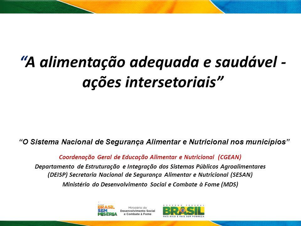 A alimentação adequada e saudável - ações intersetoriais