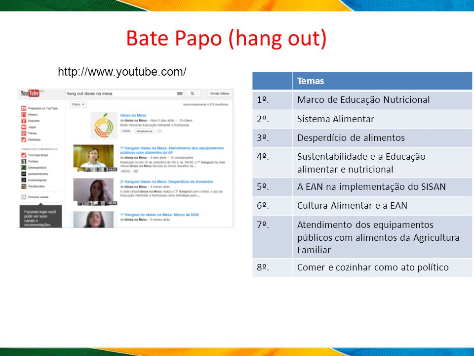 Bate Papo (hang out) http://www.youtube.com/ Temas 1º.