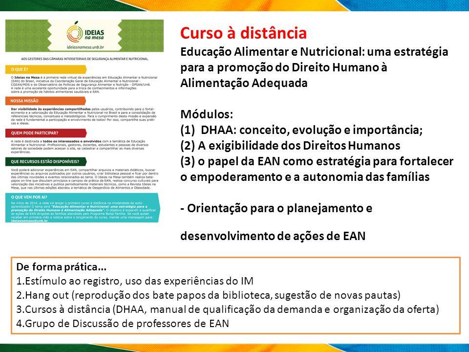 Curso à distância Educação Alimentar e Nutricional: uma estratégia para a promoção do Direito Humano à Alimentação Adequada Módulos: (1) DHAA: conceito, evolução e importância; (2) A exigibilidade dos Direitos Humanos (3) o papel da EAN como estratégia para fortalecer o empoderamento e a autonomia das famílias - Orientação para o planejamento e desenvolvimento de ações de EAN