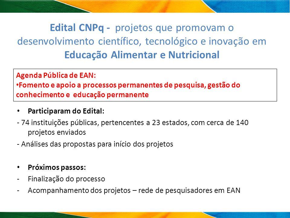 Edital CNPq - projetos que promovam o desenvolvimento científico, tecnológico e inovação em Educação Alimentar e Nutricional