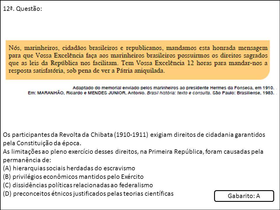 12ª. Questão: Os participantes da Revolta da Chibata (1910-1911) exigiam direitos de cidadania garantidos pela Constituição da época.