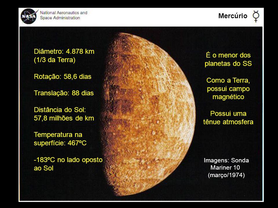Mercúrio Diâmetro: 4.878 km (1/3 da Terra) É o menor dos