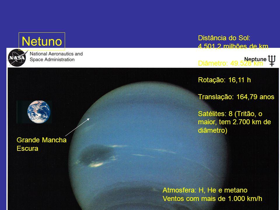 Netuno Distância do Sol: 4.501,2 milhões de km Diâmetro: 49.528 km