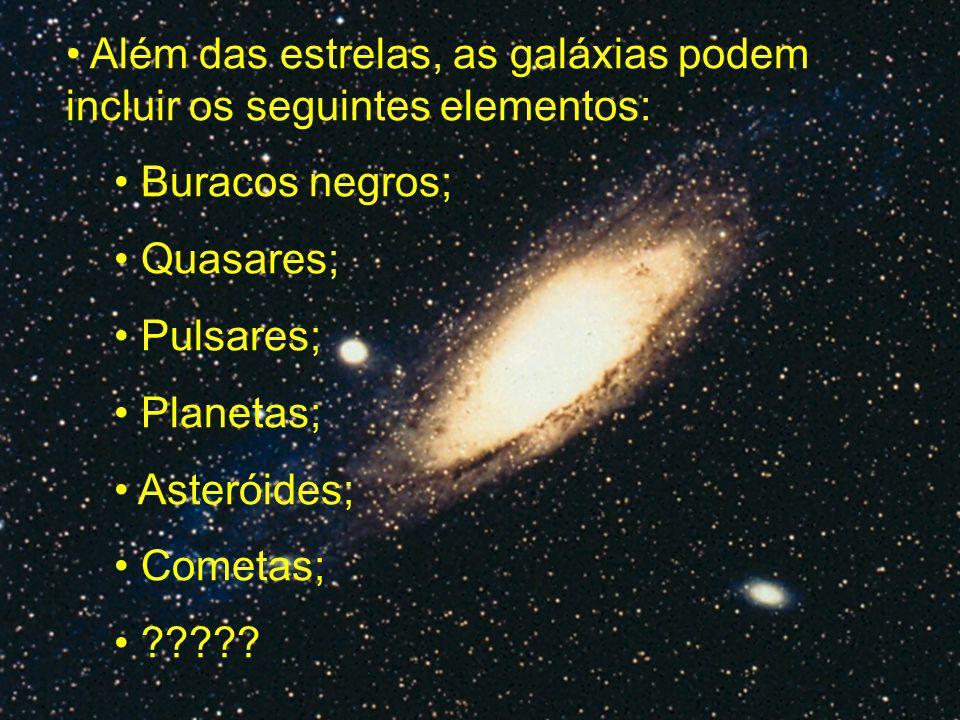 Além das estrelas, as galáxias podem incluir os seguintes elementos: