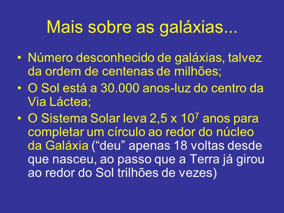 Mais sobre as galáxias... Número desconhecido de galáxias, talvez da ordem de centenas de milhões;