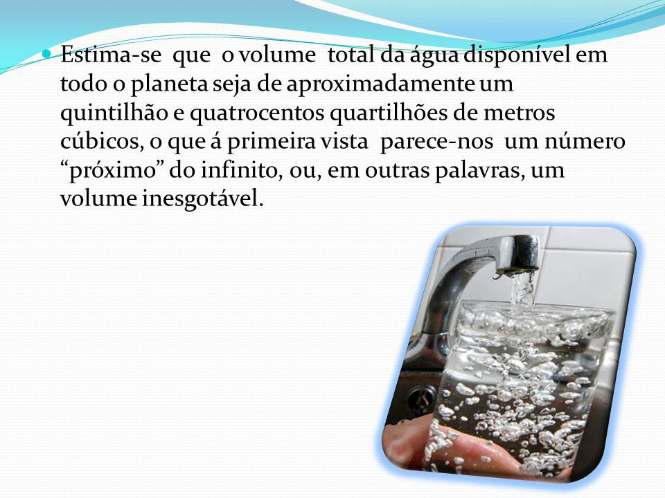 Estima-se que o volume total da água disponível em todo o planeta seja de aproximadamente um quintilhão e quatrocentos quartilhões de metros cúbicos, o que á primeira vista parece-nos um número próximo do infinito, ou, em outras palavras, um volume inesgotável.