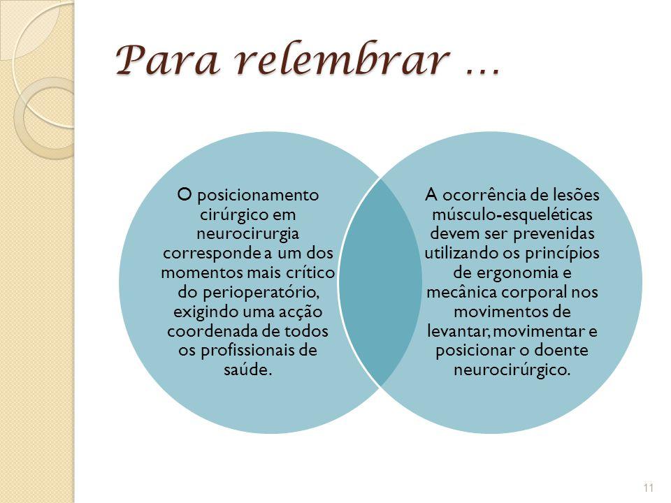 Para relembrar …