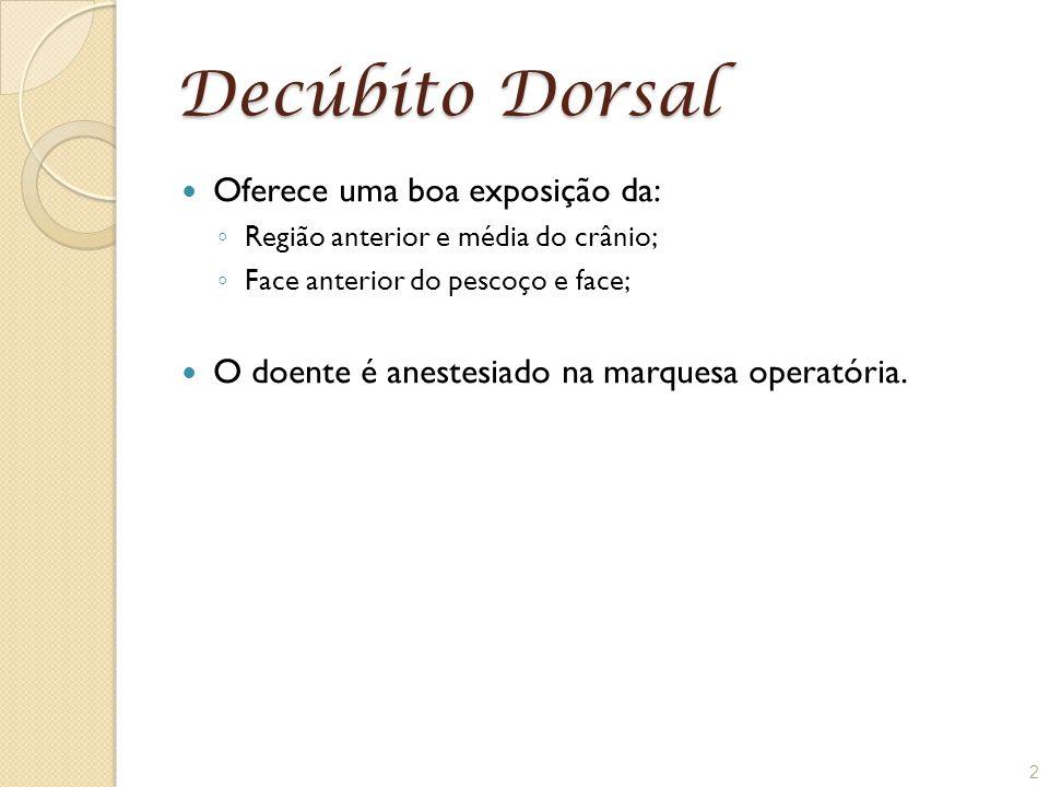 Decúbito Dorsal Oferece uma boa exposição da:
