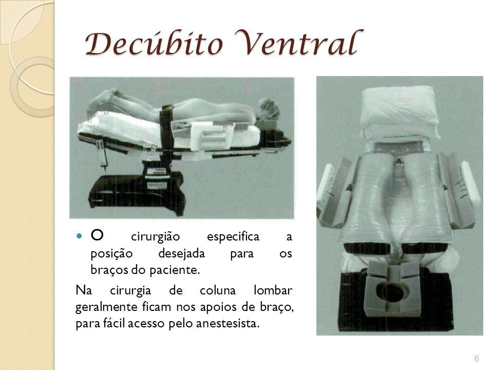 Decúbito Ventral O cirurgião especifica a posição desejada para os braços do paciente.