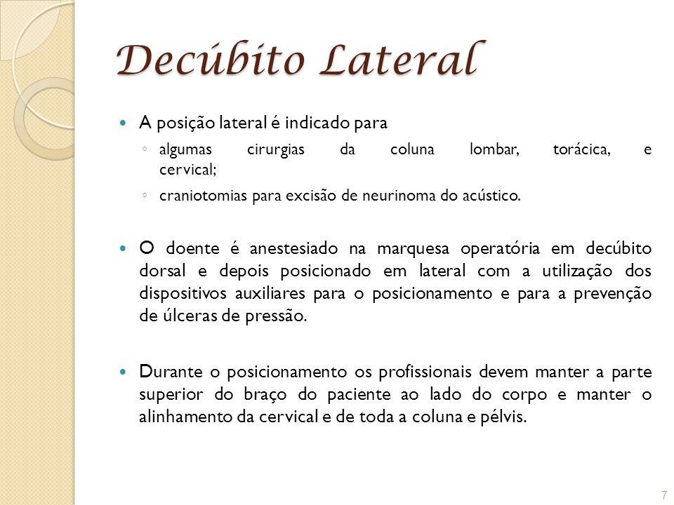 Decúbito Lateral A posição lateral é indicado para