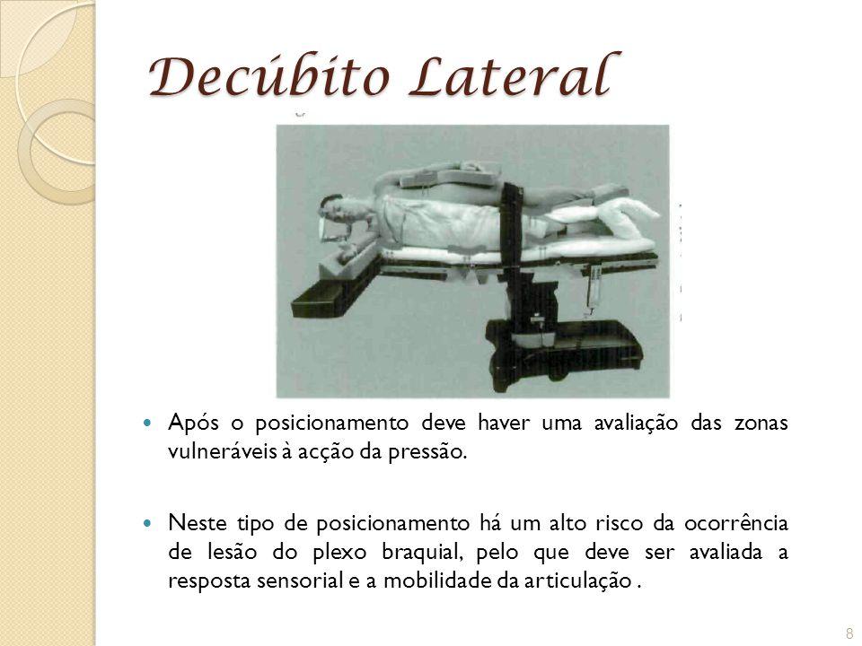 Decúbito Lateral Após o posicionamento deve haver uma avaliação das zonas vulneráveis à acção da pressão.