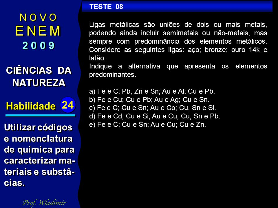 Habilidade Utilizar códigos e nomenclatura de química para
